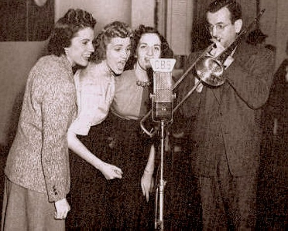 The Andrews Sisters join Glenn on the Chesterfield show, early 1940.
