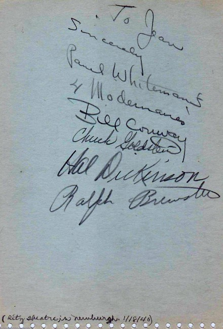 The Modernaires' autographs, from January 1940, when they were still with Paul Whiteman.