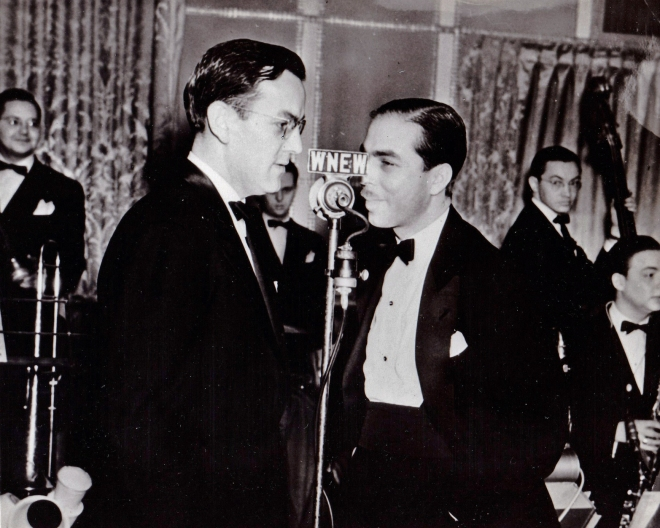 Glenn & Martin Block at the WNEW microphone. In the background are Clyde Hurley, Moe Purtill, Rollie Bundock & Willie Schwartz.
