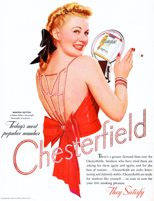 Though Marion Hutton left the band temporarily in January 1941, Chesterfield still used her in ads and billboards to promote the brand.