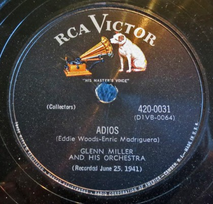 "1951 78 reissue of ADIOS, with echo added for ""Enhanced Sound."""