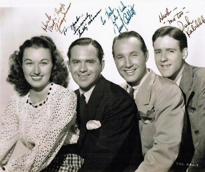 "Kay Kyser's singers - Ginny Simms, Sully Mason, Harry Babbitt and Merwyn ""Ish Kabibble"" Bogue."