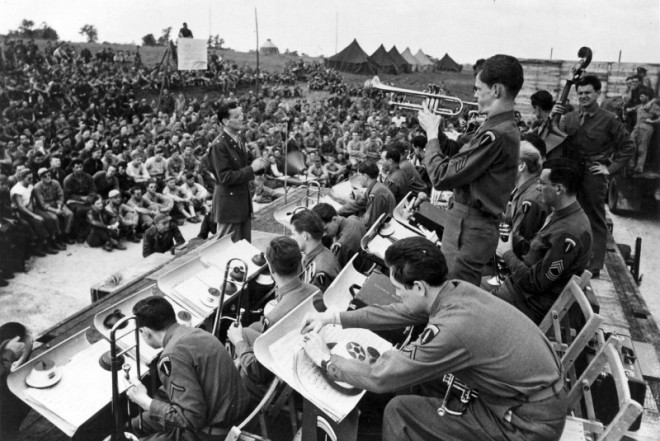 Glenn and the band in England, 1944.